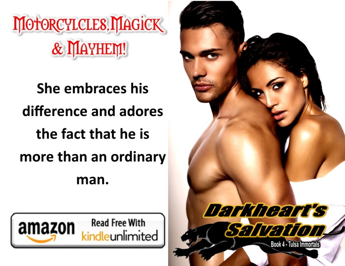 Darkheart promo - she embraces him KU button & DHS logo w sexy couple